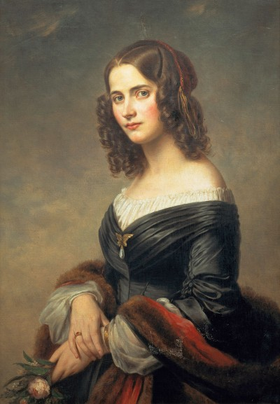 "Felix' wife Cécile Jeanrenaud, daughter of a family of Hugenot patricians from Frankfurt.  Eduard Magnus, ""Cécile Mendelssohn Bartholdy,"" 1845, © bpk / SBB / photo: Ruth Schacht."